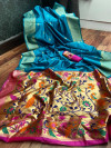 paithani silk saree with weaving rich pallu
