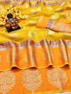 Yellow color Doriya Zari Weaving Work saree