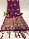 Soft banarasi silk saree with zari weaving pallu and butti