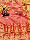 Peach color Doriya Zari Weaving Work saree