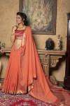 Linen silk saree with zari woven temple border and pallu