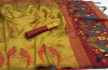 Handloom raw silk saree with woven contrast pallu
