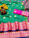 Green color Doriya Zari Weaving Work saree