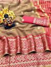 Beige color Doriya Zari Weaving Work saree