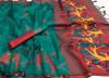 Handloom raw silk saree with woven contrast pallu