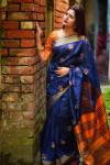 Banglori raw silk  Zari Woven work saree