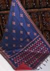 Handloom raw silk saree with resham weaving contrast pallu
