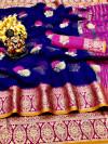 Blue color Doriya Zari Weaving Work saree