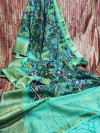 Handloom linen saree with digital printed zari woven pallu