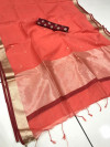 Linen silk saree with checks and zari woven pallu