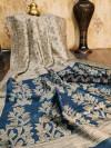 Raw silk saree with ikkat printed work