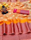 Orange color Doriya Zari Weaving Work saree