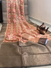 Munga silk digital printed weaving saree with zari woven border and pallu