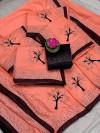 2 Tone Vichitra Silk Hot Fix Diamond Work Saree