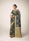 Gray color kanchipuram silk saree with golden zari work