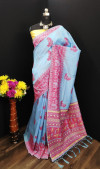 Sky blue color light cotton jacquard cotton silk saree with weaving border