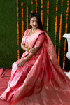Peach color kanchipuram silk handloom saree with zari work