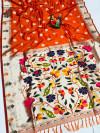 Orange color kanchipuram silk saree with weaving work
