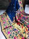 Navy blue color paithani handloom silk saree with zari work