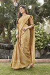 Cream color cotton saree with foil printed work