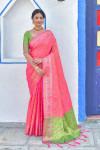 Pink color soft banarasi silk saree with meenakari design