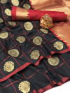 Black color soft silk saree with weaving work