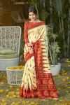 White color patola silk saree with digital printed work