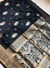 Black color soft kanchipuram silk saree with zari weaving work