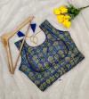 Ikkat silk jacquard readymade blouse with zari work