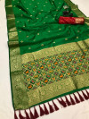 Green color kanchipuram silk saree with weaving work