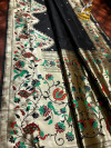 Black color paithani silk saree with jacquard weaving work