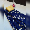 Blue color satin silk saree with floral printed work