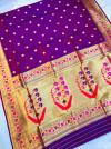 Purple color soft kanchipuram silk saree with golden zari weaving work