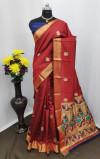 Maroon color Paithani silk zari work saree