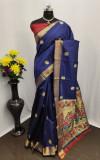 Navy blue color Paithani silk zari work saree
