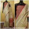 Cream color Chanderi cotton saree with zari weaving border and pallu