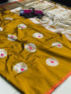 Soft kesari silk saree with zari woven work