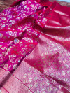 Kanchipuram handloom silk saree with silver and golden zari work