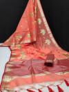Linen silk saree with zari woven embroidered work