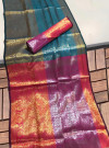 Soft kanchipuram silk pattu saree with zari woven work