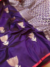Soft silk saree with golden and silver zari weaving work
