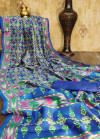 Raw silk ikkat printed saree