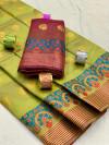 Cotton silk saree with zari weaving work