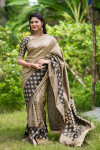 Tussar silk weaving saree with rich pallu