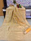 Ghicha tussar silk saree with zari woven rich pallu