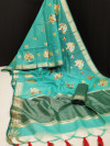Linen silk saree with zari woven embroidered work