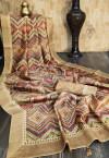 Tussar silk saree with exclusive print