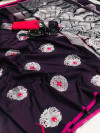 Soft kesari silk saree with zari woven work
