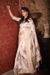 Soft mulberry silk saree with zari woven butta and border