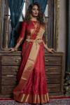 Mysore silk weaving saree with zari ikkat woven pallu